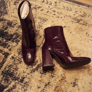ZARA TRF Burgundy Patent Leather Boots